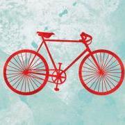 Bicycle print - 5 x 7 - modern art, bike art, turquoise, red, bicycle illustration